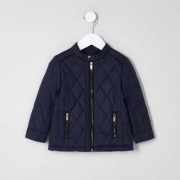 River Island Mini boys Navy quilted racer jacket