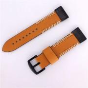 Side Stitches Genuine Leather Watch Strap for Garmin Fenix 5X 26mm - Brown