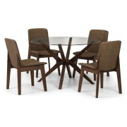Chelsea Round Glass Top Dining Table (Solid Beech in Walnut Finish With Clear Glass) - Table + 4 Kensington Chair