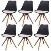 vidaXL Cadeiras de jantar 6 pcs couro artificial preto e branco