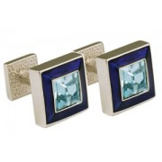 Mousie Bean Crystal Cufflinks Square Polo 003 Royal Blue/Aqua Crystal