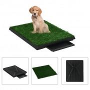 vidaXL Кучешка тоалетна с тава и изкуствена трева, зелена, 63x50x7 см