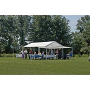 ShelterLogic Outdoor Canopy Tent With Enclosure & Extension Kits - 20ft. x 10ft., Model 23532, White