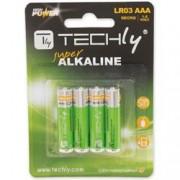 Techly Blister 4 Batterie High Power Mini Stilo AAA Alcaline LR03 1.5V