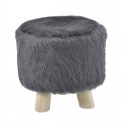 [en.casa]® Designová taburetka - šedá - kožešina