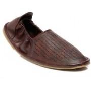 TEN Brown Leather Mojari Outdoors For Men(Brown)