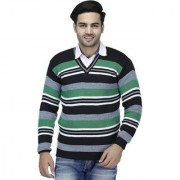 Christy's Collection Striped V-Neck Casual Green Men's Sweater