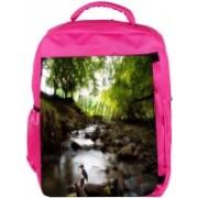 Snoogg Eco Friendly Canvas Small Bird Designer Backpack Rucksack School Travel Unisex Casual Canvas Bag Bookbag Satchel 5 L Backpack(Pink)