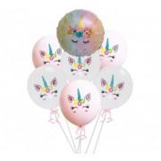 Set 6 baloane latex unicorn 30cm + un balon folie 45 cm