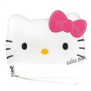 WiLLBee Samsung Galaxy S6Case Hello Kitty cute Diary Wallet Funda Flip Cover piel Sintético Antigolpes, Big Face White (Galaxy S6)