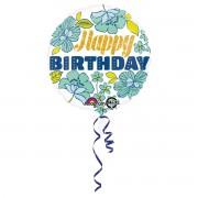 Balon folie Happy Birthday cu flori 43 cm