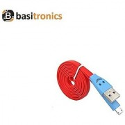 Basitronics Flat Smile Micro USB Charging and Data cable 3 Feet 0.9 Meters Red