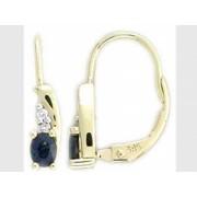 Diamantové náušnice, žluté zlato briliant, modrý safír 585/1,95 gr