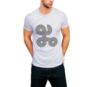 PRINT OPERA Latest and Stylish Men's round neck T-Shirt black white grey melange and navy blue color- Abstract rounds