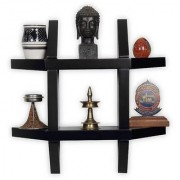 Onlineshoppee Wooden Wall Decor Wall Shelf Rack/Bracket Size (LxBxH-16x4x16) inch ( Black )