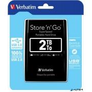 2,5' HDD (merevlemez), 2TB, USB 3.0, VERBATIM, fekete