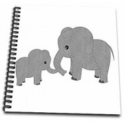 3dRose Mom & Baby Elephant - Drawing Book 8 by 8-Inch (db_195248_1)