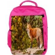 Snoogg Eco Friendly Canvas Fox Designer Backpack Rucksack School Travel Unisex Casual Canvas Bag Bookbag Satchel 5 L Backpack(Pink)