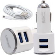 LDNIO 2 Port Car Charger with 2 USB Ports and Android Cable
