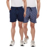 Vimal-Jonney Navy Blue Printed And Ripped Navy Blue Shorts For Men(Pack Of 2)