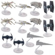 Hot Wheels (Set Of 12) Star Wars Starships Millennium Falcon X Wing Y Wing Tie Fighter Darth Vader Tie Advanced Star Destroyer