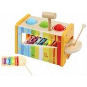 Joc Educational Multifunctional cu Xilofon, Cutiuta, Ciocan si Bile Multicolore