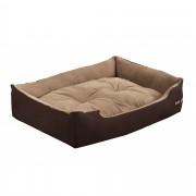[en.casa]® Легло за кучета и котки , 75 x 56 x 19 см, Кафяв