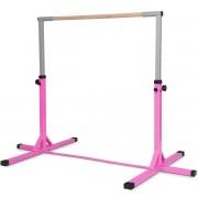 Costway Barre de Gymnastique en Acier Hauteur Réglable de 91 à 150CM Capacité de Poids 100KG Rose