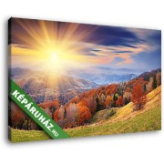 Napfelkelte az őszi hegyek felett (40x25 cm, Vászonkép )