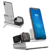 3-in-1 Aluminum Alloy Oplaadstation - iPhone, Apple Watch, AirPods - Zilver