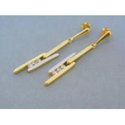 Zlaté dámske náušnice visiace žlté biele zlato zirkóny DA442V