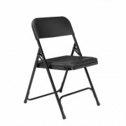 National Public Seating Black Plastic Seat Stackable Outdoor Safe Folding Chair (Set of 4)