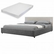 Двойно легло Corium®, Серия My.bed с вертикално LED-es осветление и матрак, 140x200cm, с подматрачна рамка, Изкуствена кожа, Сив/Слонова кост