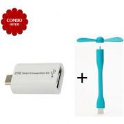 Combo of USB Fan Mini OTG - Assorted Color