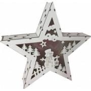 Decoratiune craciun stea Strend Pro Woodeco 8xLED 26x5x24 cm lemn