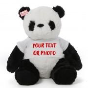 Personalized 2 Feet Panda Teddy Bear Soft Toy wearing Customized Tshirt