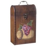 Kufřík s obrázkem na 2 lahve vína rustik dřevěný