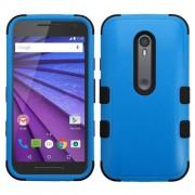 Funda Protector Motorola 3era Gen Triple Layer Azul / Negro