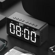 BT506 Portable Bluetooth Speaker Wireless Stereo Speaker Support TF AUX Mirror Alarm Clock for Phone Computer - Black