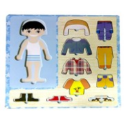 Grizzly Wooden Toys Dress-Up Boy Puzzle Shape Board Game