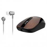 Genius Mobile Package MH-8015 [Business] Wireless Smart Mouse & In-Ear Headset Combo for Mobility Users, Stylish Brushed Metal Look, Long Life Rechargeable Battery, No Pairing, Plug & Play Coffee
