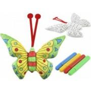 Jucarie Fluture lavabil de colorat + set de 4 carioci colorate