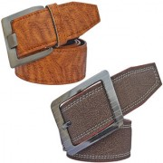 Sunshopping men's brown and tan leatherite needle pin point buckle combo(PSD-TB-PRM-7)