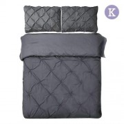 King 3-piece Quilt Cover Set Charcoal