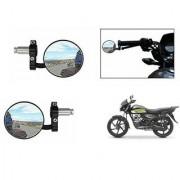 Kunjzone Bike Handle Grip Rear View Mirror BLACK Set Of 2- For Honda CD 110 Dream