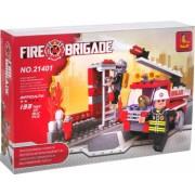 Set de constructie pentru copii Masina de pompieri 133 piese