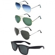 Magjons Black Wayfarer And Aviator Sunglasses Combo Set of 4 With box MJ77899