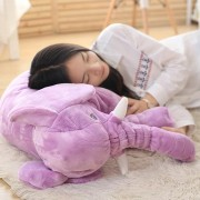 Almohada Suave De Bebé Para Dormir Con Bonito Peluche De Elefante-púrpura
