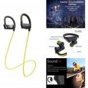 Audífonos Bluetooth, Audifonos Bluetooth Manos Libres Movimiento Fitness Inalámbrico Auriculares Estéreo Super Bass Auriculares Con Micrófono Para Sony LG Iphone Xiaomi (amarillo)