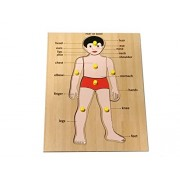 Mojopanda Handcrafted Human Body Parts Peg Puzzle Picture Learning Board for Children Educational Toy